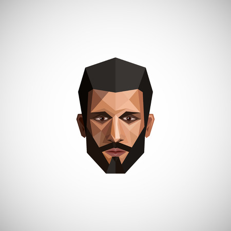 faces: illustration with a male face in origami style