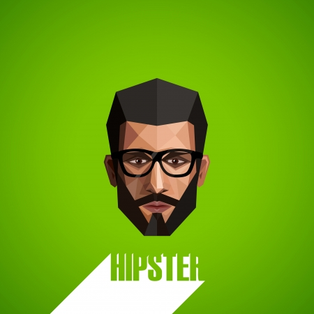illustration with a male face in origami style  hipster  Vector
