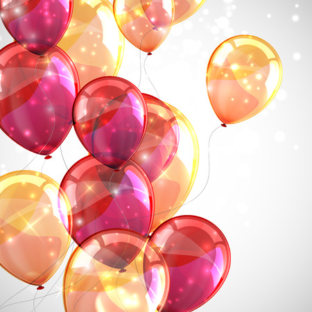 birthday party: holiday with flying multicolored balloons and sparkles Illustration