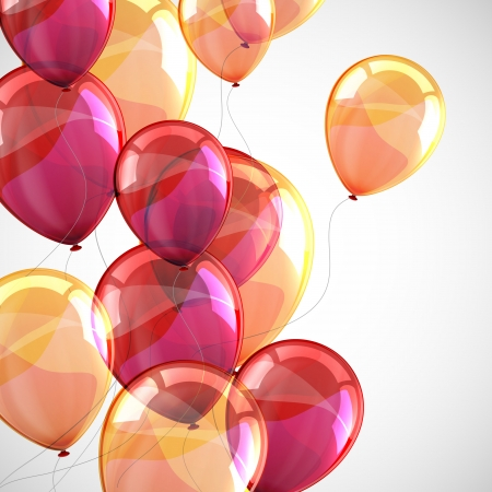 balloon background: holiday with flying multicolored balloons  Illustration