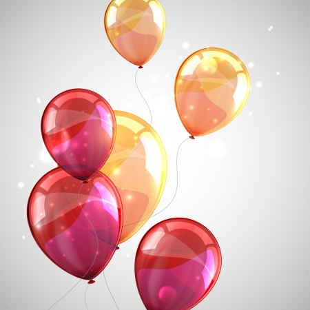party balloons: holiday background with multicolored balloons and sparkles