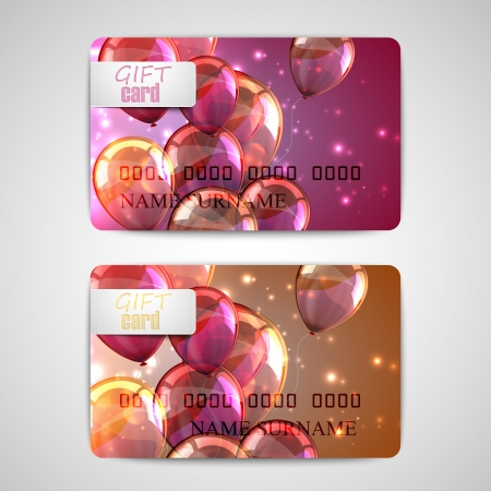 set of shiny gift cards with flying balloons and sparkles Vector