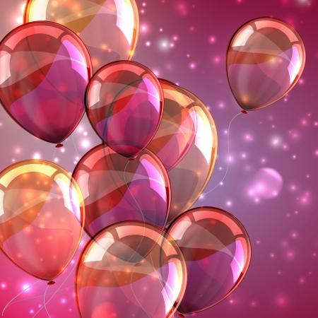 celebration background: holiday with flying multicolored balloons and sparkles Illustration