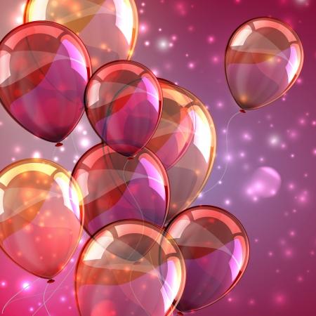 vakantie met vliegende veelkleurige ballonnen en schittert Stock Illustratie