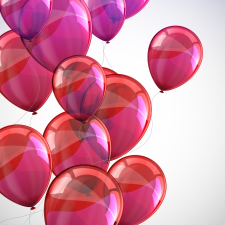 balloons party: holiday with flying red balloons