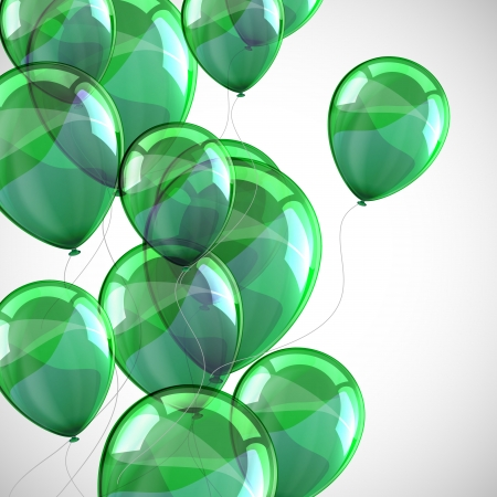 holiday with flying green balloons