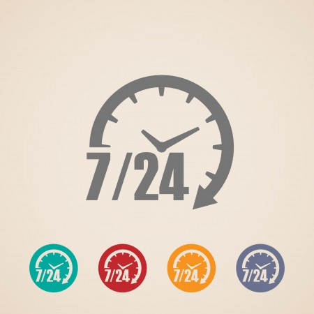 24 7: open 24 hours a day and 7 days a week icons