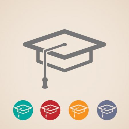 conception disposition des icônes de chapeau d'obtention du diplôme