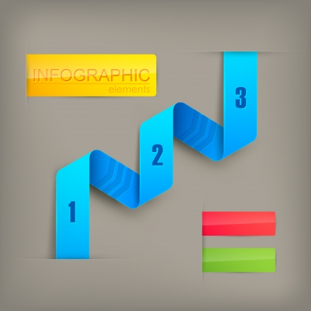 abstract  paper infographics with a blue ribbon Stock Vector - 25204435