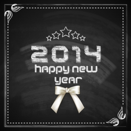 vintage happy new year card design with chalkboard texture and white bow Vector