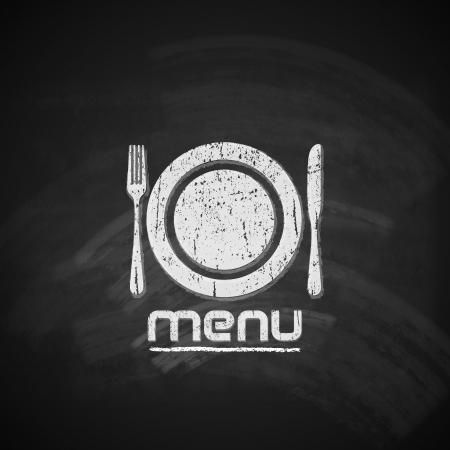 chalkboard menu: vintage chalkboard menu design with plate, fork and knife
