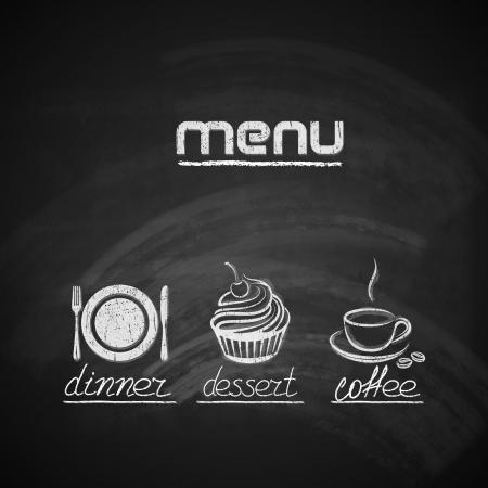 gourmet dinner: dise�o de men� en la pizarra de la vendimia con plato, tenedor y cuchillo, magdalena y de la taza de caf�