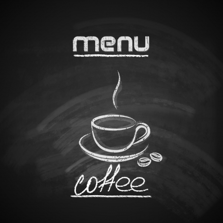 old fashioned menu: vintage chalkboard menu design with a coffee cup