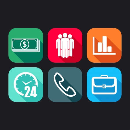 flat icons for web and mobile applications with business signs   flat design with long shadows   Vector