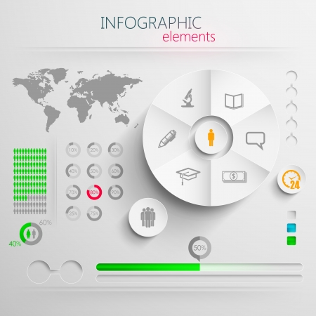 design layout of abstract 3d paper info graphic elements with education signs for print or web design