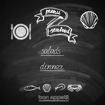 old style lettering: vintage seafood menu design with chalkboard texture  illustration   Illustration