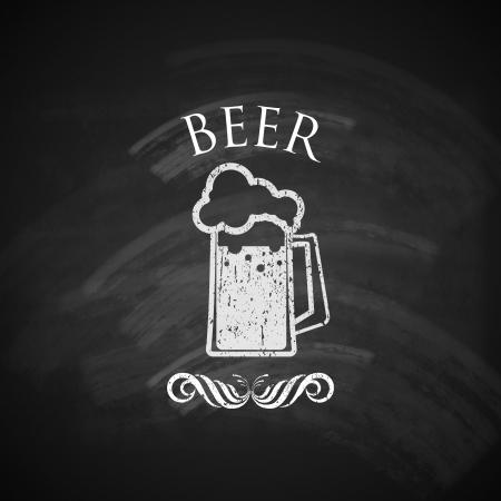 cru bière pinte avec tableau noir texture illustration Illustration