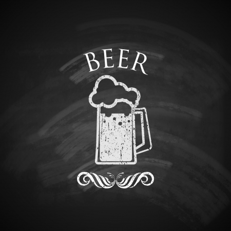 chalkboard: cru bière pinte avec tableau noir texture illustration Illustration
