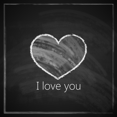 advertising board: I love you  abstract vintage with chalkboard texture for web or print design  valentine day concept