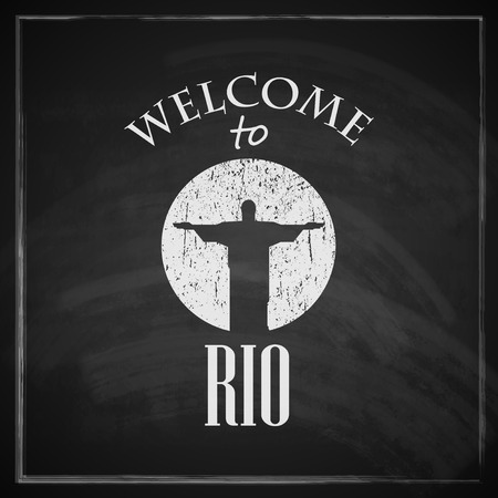 redeemer: vintage illustration with christ the redeemer statue  brazilian landmark  travel concept with chalkboard texture   welcome to Rio de janeiro