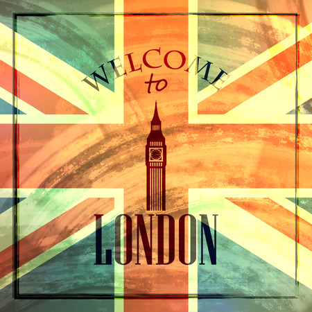 abstract london: abstract vintage for web or print design  illustration with big ben icon  welcome to London Illustration
