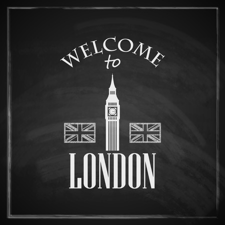 big ben: vintage illustration with big ben icon  english landmark  travel concept with chalkboard texture   welcome to London