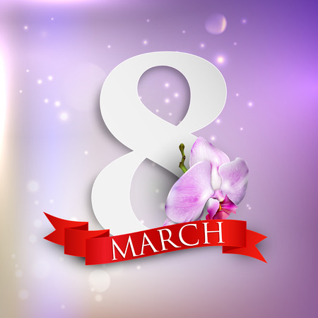 women s day: 8 march  Women s Day greeting card with paper number eight, orchid flower and red ribbon