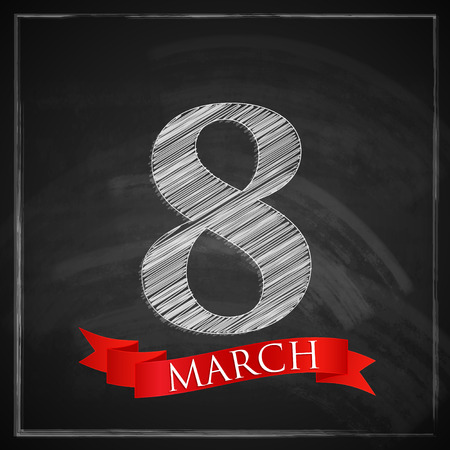 compliments: 8 march  Women s Day greeting card with number eight and red ribbon on chalkboard texture