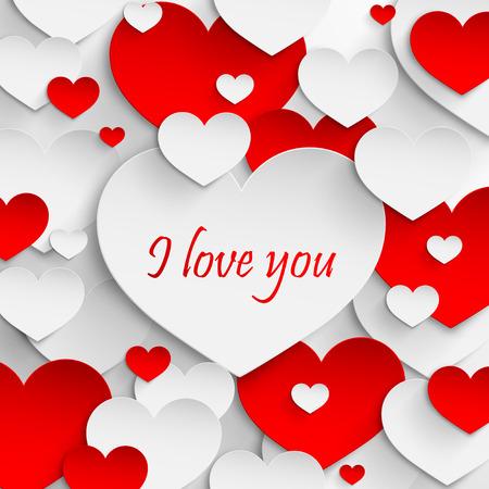 love card: Te quiero vacaciones abstracto con corazones de papel Valentines day concept
