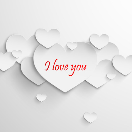 I love you  Abstract holiday with paper hearts  Valentines day concept Vector