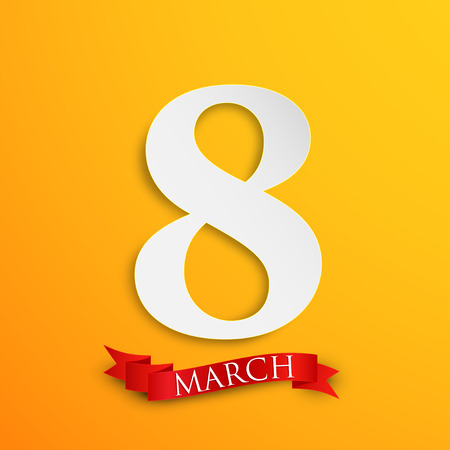 women s day: 8 march  Women s Day greeting card with paper number eight and red ribbon