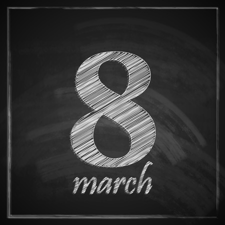 women s day: 8 march  Women s Day greeting card with number eight on chalkboard texture