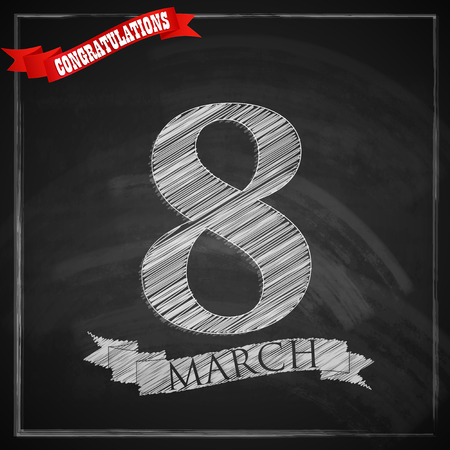 women s day: 8 march  Women s Day greeting card with number eight and red ribbon on chalkboard texture