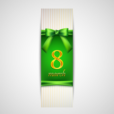 compliments: 8 march  Women s Day greeting card with golden number eight, green bow and ribbon Illustration