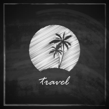 vintage illustration with tropic island sign on blackboard background  travel concept Vector