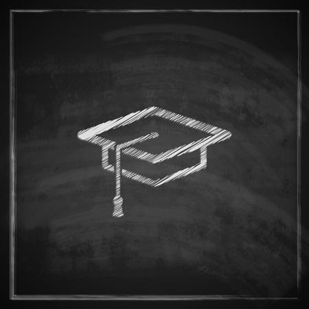 vintage illustration with graduation cap sign on blackboard background  educational concept