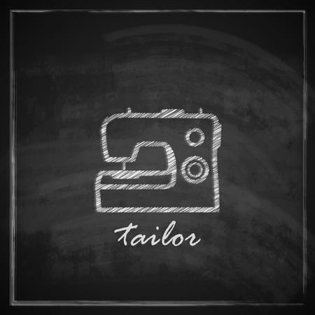vintage illustration with sewing machine sign on blackboard background   Vector