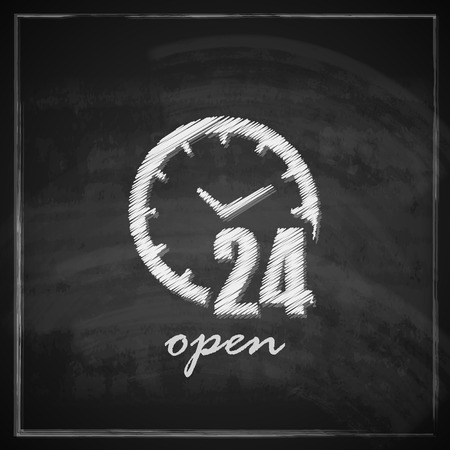 vintage illustration with open 24 hours a day sign on blackboard background   Vector