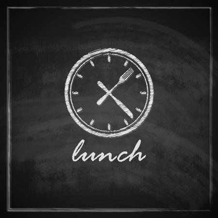 クロックと黒板背景昼食時間の概念上のカトラリーを備えたビンテージ図