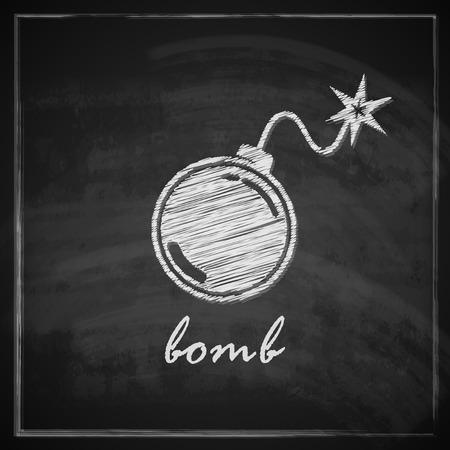 vintage illustration with bomb on blackboard background   Vector