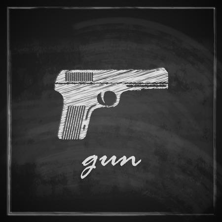 vintage illustration with gun on blackboard background   Stock Vector - 26195889