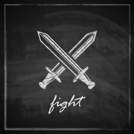 swordsmanship: vintage illustration with swords on blackboard background   Illustration