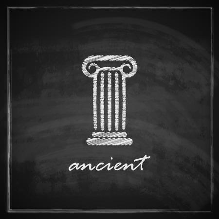 classical greece: vintage illustration with ancient column on blackboard background   Illustration