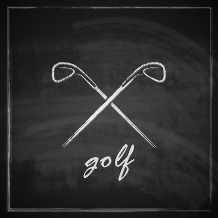 croix de fer: illustration de cru avec des pilotes de golf sur fond de tableau noir