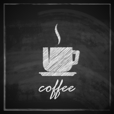 coffee cup: vintage illustration with coffee cup on blackboard background   Illustration