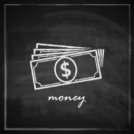 vintage illustration with money on blackboard background  finance concept