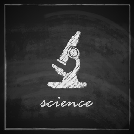 vintage illustration with microscope on blackboard background  science concept Vector