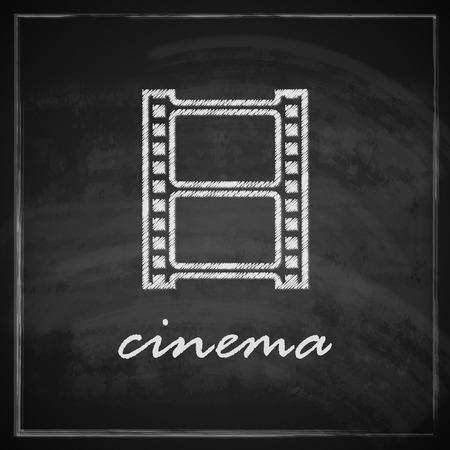 vintage illustration with film strip sign on blackboard background  cinema concept Vector