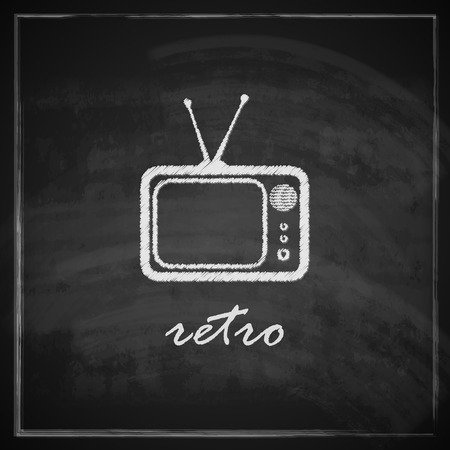 vintage illustration with retro tv sign on blackboard background Vector