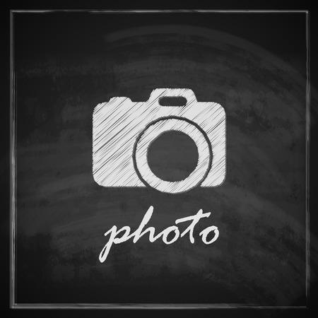 vintage illustration with camera sign on blackboard background Stock Vector - 26195904